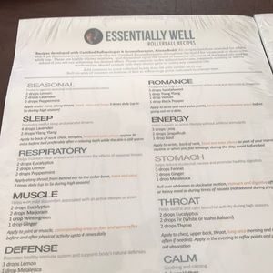 Essential oil rollerball recipe sheets